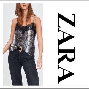 New Zara snake print tank top cami size small